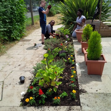NCS The Challenge Volunteers gardening